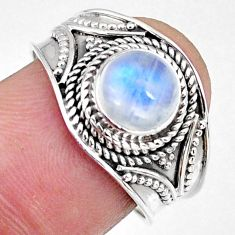 925 silver 2.72cts natural rainbow moonstone round solitaire ring size 8 r58617