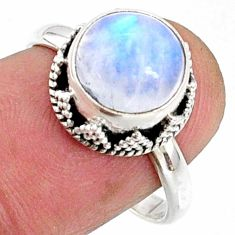 925 silver 4.66cts natural rainbow moonstone round solitaire ring size 8 r64732