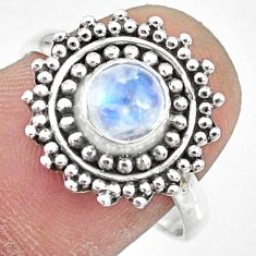 925 silver 1.39cts natural rainbow moonstone round solitaire ring size 8 r74798