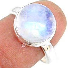925 silver 5.73cts natural rainbow moonstone round solitaire ring size 8 r76947