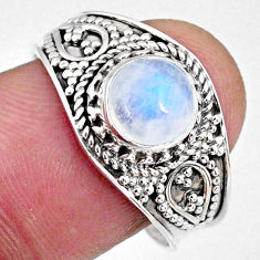 925 silver 2.72cts natural rainbow moonstone round solitaire ring size 9 r58610