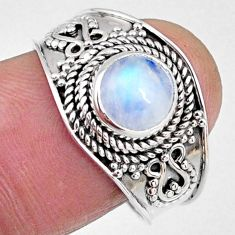 925 silver 2.71cts natural rainbow moonstone round solitaire ring size 9 r58613