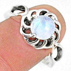 925 silver 2.53cts natural rainbow moonstone round solitaire ring size 9 r68937