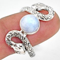 925 silver 3.01cts natural rainbow moonstone snake solitaire ring size 10 d46280