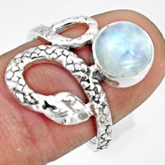 925 silver 3.19cts natural rainbow moonstone snake solitaire ring size 7 r22568