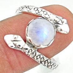 925 silver 3.12cts natural rainbow moonstone snake solitaire ring size 8 r22608