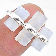 925 silver 11.26cts natural rainbow moonstone solitaire fancy ring size 6 t36139