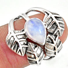 925 silver 2.63cts natural rainbow moonstone solitaire leaf ring size 8 r37053