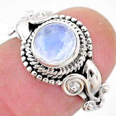 925 silver 2.53cts natural rainbow moonstone solitaire ring jewelry size 6 t2107