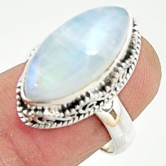 925 silver 8.68cts natural rainbow moonstone solitaire ring size 7.5 r22304