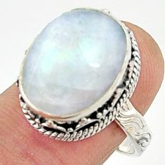 925 silver 11.24cts natural rainbow moonstone solitaire ring size 8.5 r22314