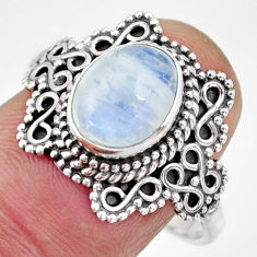 925 silver 2.90cts natural rainbow moonstone solitaire ring size 8.5 r26996