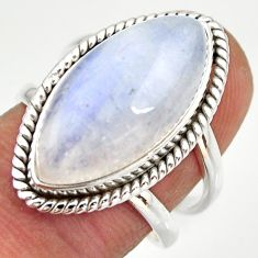 925 silver 12.71cts natural rainbow moonstone solitaire ring size 7.5 r27034