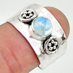 925 silver 1.40cts natural rainbow moonstone solitaire ring size 7.5 r34637