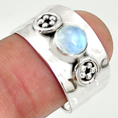 925 silver 1.40cts natural rainbow moonstone solitaire ring size 7.5 r34639