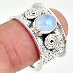 925 silver 2.24cts natural rainbow moonstone solitaire ring size 8.5 r34695