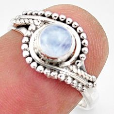 925 silver 0.87cts natural rainbow moonstone solitaire ring size 6.5 r35978