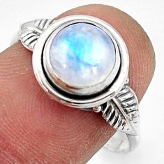 925 silver 2.98cts natural rainbow moonstone solitaire ring size 8.5 r41518