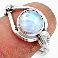 925 silver 3.29cts natural rainbow moonstone solitaire ring size 7.5 r41540