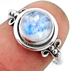 925 silver 3.05cts natural rainbow moonstone solitaire ring size 7.5 r41599