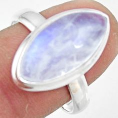 925 silver 8.42cts natural rainbow moonstone solitaire ring size 8.5 r47368