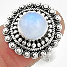 925 silver 5.07cts natural rainbow moonstone solitaire ring size 8.5 r52548