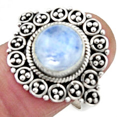 925 silver 5.09cts natural rainbow moonstone solitaire ring size 7.5 r52678