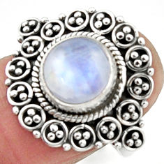 925 silver 5.11cts natural rainbow moonstone solitaire ring size 7.5 r52699
