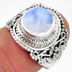 925 silver 4.92cts natural rainbow moonstone solitaire ring size 6.5 r53284