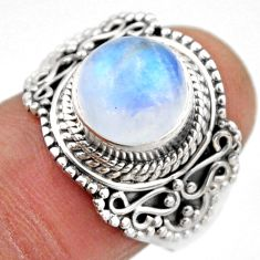 925 silver 5.08cts natural rainbow moonstone solitaire ring size 7.5 r53289