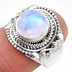 925 silver 5.13cts natural rainbow moonstone solitaire ring size 7.5 r53300