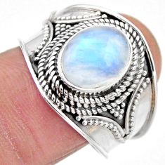 925 silver 4.21cts natural rainbow moonstone solitaire ring size 8.5 r53604