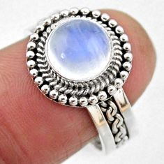 925 silver 3.14cts natural rainbow moonstone solitaire ring size 7.5 r54318