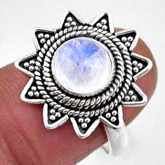 925 silver 3.41cts natural rainbow moonstone solitaire ring size 6.5 r54339