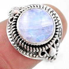 925 silver 5.70cts natural rainbow moonstone solitaire ring size 7.5 r54599