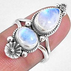 925 silver 4.38cts natural rainbow moonstone solitaire ring size 6.5 r67319
