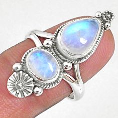 925 silver 4.38cts natural rainbow moonstone solitaire ring size 7.5 r67320