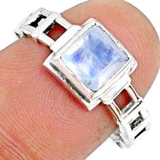 925 silver 1.39cts natural rainbow moonstone solitaire ring size 7.5 r68736