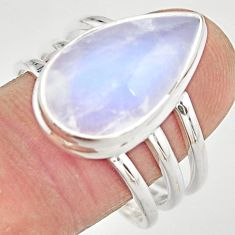 925 silver 10.54cts natural rainbow moonstone solitaire ring size 10 r21494