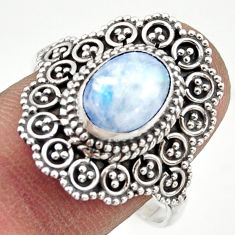 925 silver 3.25cts natural rainbow moonstone solitaire ring size 10 r41798