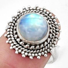 925 silver 4.92cts natural rainbow moonstone solitaire ring size 7 d46600