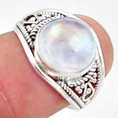 925 silver 4.83cts natural rainbow moonstone solitaire ring size 7 r35440