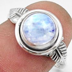 925 silver 2.96cts natural rainbow moonstone solitaire ring size 7 r41520