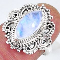 925 silver 4.08cts natural rainbow moonstone solitaire ring size 7 r58938