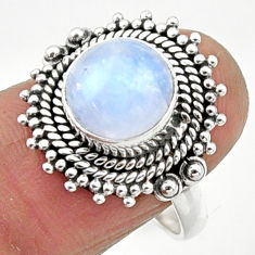 925 silver 4.92cts natural rainbow moonstone solitaire ring size 8 r52538