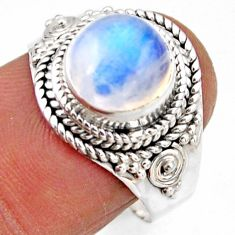 925 silver 3.01cts natural rainbow moonstone solitaire ring size 8 r53624