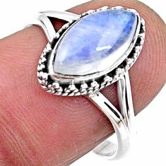 925 silver 2.74cts natural rainbow moonstone solitaire ring size 8 r57399