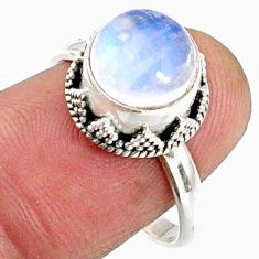 925 silver 4.69cts natural rainbow moonstone solitaire ring size 8 r64731