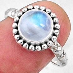 925 silver 3.11cts natural rainbow moonstone solitaire ring size 8 r65016