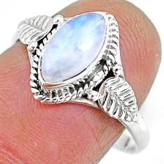 925 silver 2.60cts natural rainbow moonstone solitaire ring size 8 r92613